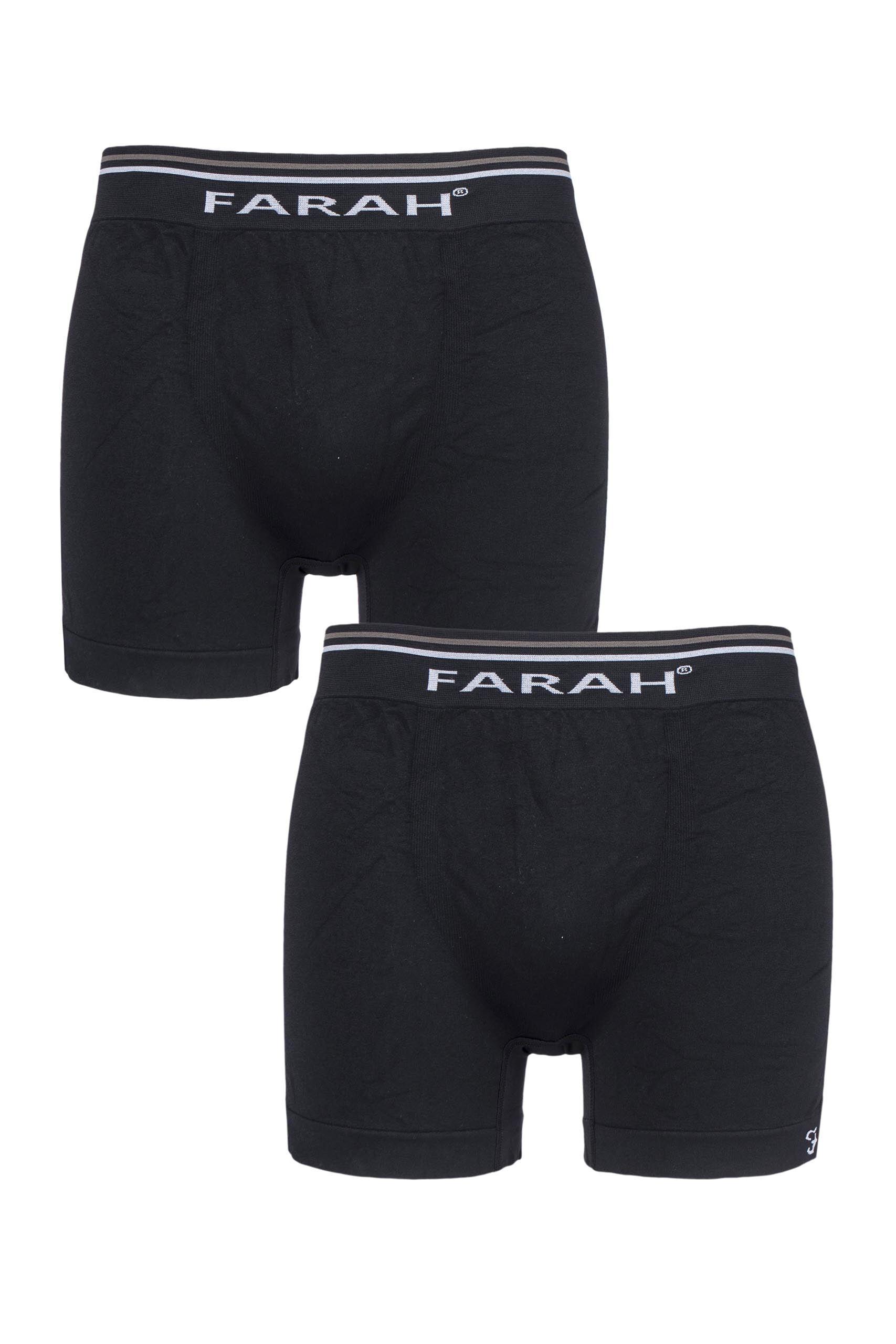 Image of 2 Pack Black Seamless Boxer Shorts Men's Large - Farah