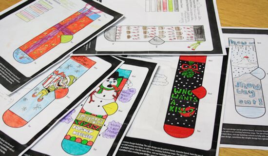 Christmas sock drawings