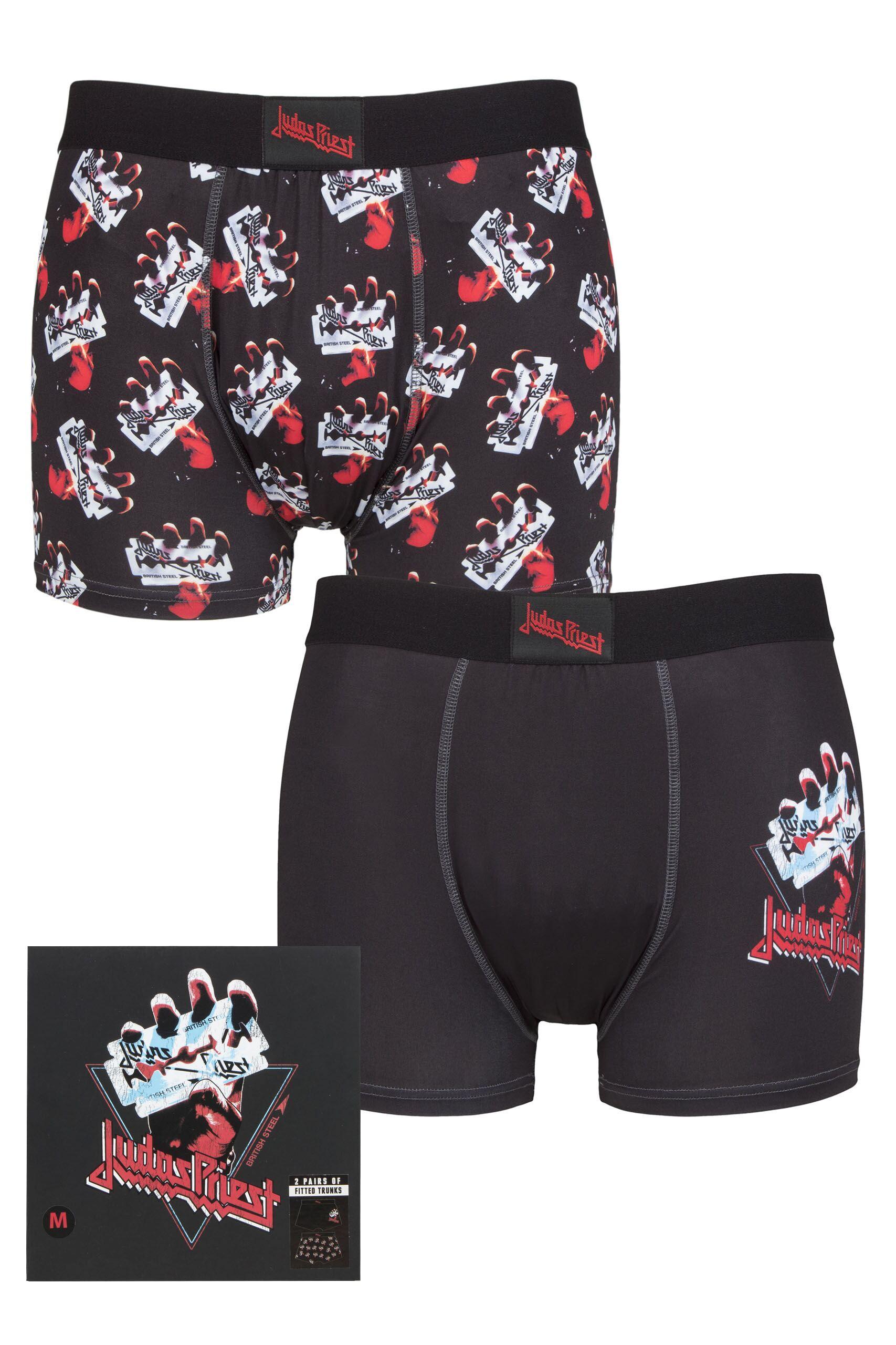 Men's Underwear Judas Priest 2 Pack Exclusive to SOCKSHOP Gift Boxed Boxer Shorts Black Medium